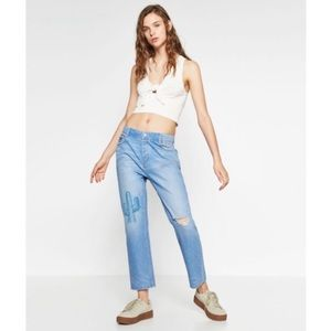 Zara Cactus Embroidered Boyfriend Jeans